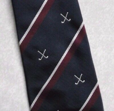 VINTAGE RETRO GOLF CLUB ASSOCIATION TIE NAVY BURGUNDY STRIPED 1980s ALEC BROOK