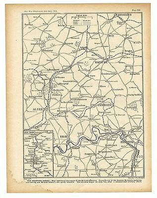 1916 WW1 Map SOMME OFFENSIVE Combles BAPAUME Albert BRAY Peronne (528)