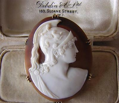 ACHILLES TROJAN WAR - BEST ANTIQUE VICTORIAN GRAND TOUR CAMEO BROOCH PIN in GOLD