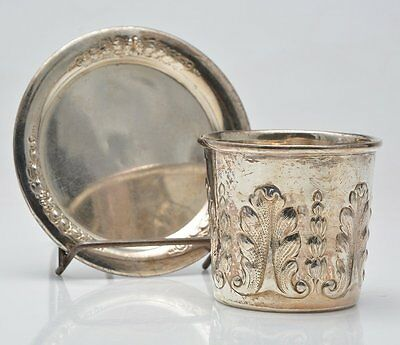 Antique Sterling Silver Carl Poul Petersen Cup & Saucer Set Rare Hand Wrought