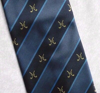 VINTAGE GOLF TIE VII RETRO CLUB ASSOCIATION TIE NAVY 1990s SPORT CREST GOLFING