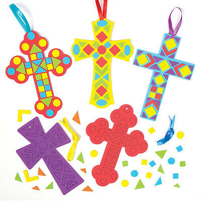 4 Mosaic Sticker Cross Decoration Kits for Children to Make - Easter Kids Crafts