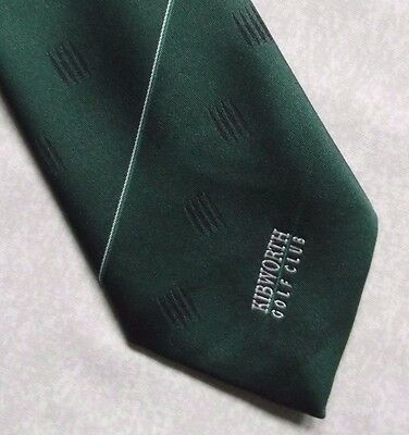 KIBWORTH GOLF CLUB TIE VINTAGE RETRO 1990s DARK GREEN GOLFING SPORT