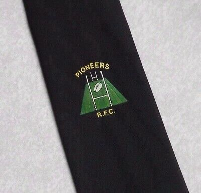 VINTAGE PIONEERS RUGBY TIE XXV RETRO CLUB ASSOCIATION TIE NAVY 1970s SPORT