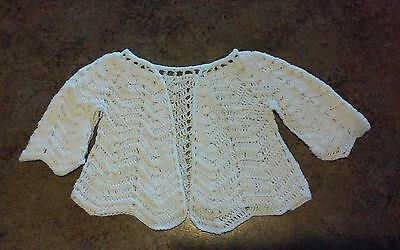 Vintage Crochet Baby Sweater white