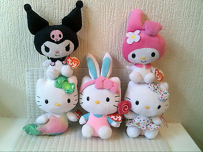 Hello Kitty / My Melody Bundle Of 5 Ty Plush Soft Toy Beanies New Official