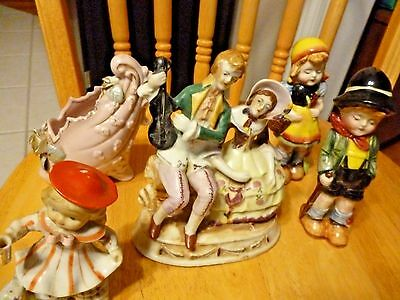 FIVE Vintage Hand Painted 1920s-30s Porcelain Figurines.  MADE IN JAPAN