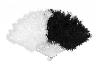 Black & White Feather Fan - Fancy Dress Accessory -  Showgirl / Burlesque - New