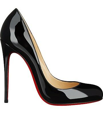 Christian Louboutin Fifi 120 Black Patent Heels Courts Pumps Size Uk 6.5 Eu 39.5