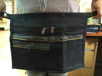 *New* 5 Pocket Denim Market Trader Car Boot Stall Holders Money, Cash Belt Bag