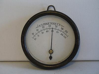 Vintage Industrial Indoor Thermometer Glass and Metal Wall Mount Steampunk