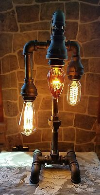 Handcrafted Industrial Pipe Desk Table 3 Bulb Steampunk Home Decor