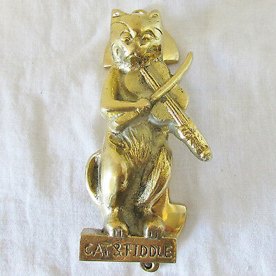 "Solid Brass CAT & FIDDLE Door Knocker Heavy Cast 6"" Tall Excellent Condition"
