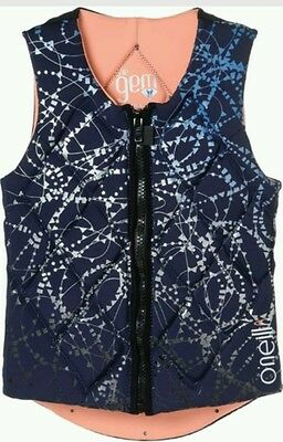 O'Neill Womens Gem Comp Vest navy 12 oneill Wakeboard Waterski Impact jacket NEW