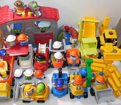 Fisher Price toys bulk collection rare vehicles little people construction