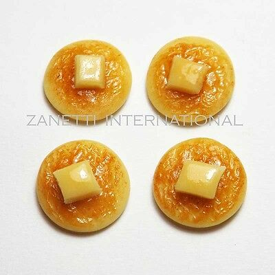 4 Dollhouse Miniature Pancakes with Butter * Doll Mini Tiny Food Breakfast Set