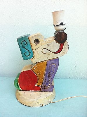 Ultra Rare 1910s-30s Antique Cubist Art Deco Wood Dog Sculpture Table Lamp Spain