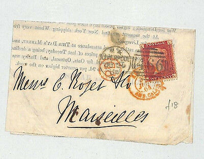 J374 1864 QV GB REDUCED 1d RATE Destination Mail Printed Matter Penny Red France