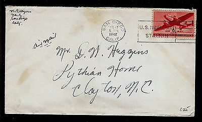 COVER WWII AIR MAIL N.A.S. San Diego CA to Clayton NC 6c #C25 FEB 17 1942