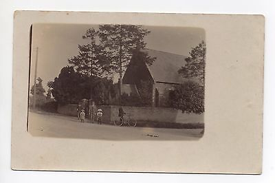 Real Photo Postcard People Bicycle Outside Church ? Unknown Possibly Berkshire