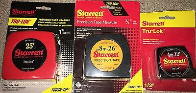 3 Starrett Tape Measures All Made In Usa 2 Tapes Have English / Metric Grads