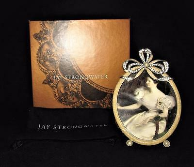 Jay Strongwater Picture Frame Oval, Bow Ribbon Jewels Italy, in Box