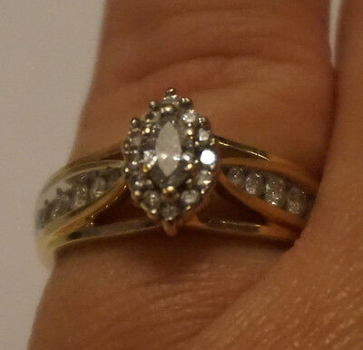 Stunning Keepsake 14k gold diamond engagement ring, Marquise cut with accents