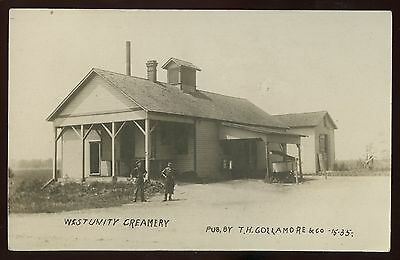 Real Photo Postcard~West Unity,Ohio Creamery~T.H.Gollamore & Co.publ. RPPC~1908