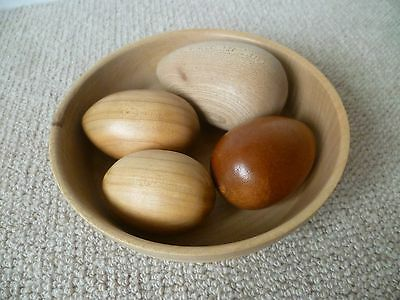 Great Collection of 4 Turned Wooden Eggs in a Turned Wooden Bowl - LOOK!