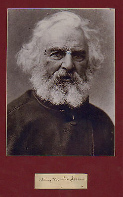 Henry W Longfellow hand signed  paper  + pic in display