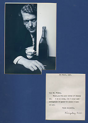 Kingsley Amis hand signed typed note + pic in display