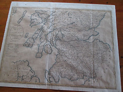 John Cary map 1805 south part of Scotland hand coloured copper plate engraving