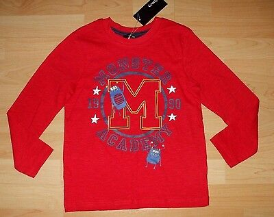 Bnwt Boys Age 3-4 Yrs Red Monster Academy Long Sleeved Top