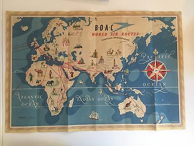 Boac Route Map Poster Brochure 1949 B.o.a.c.