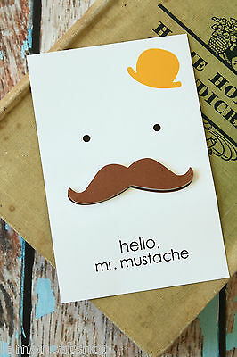 kawaii Hello Mr MUSTACHE cartoon Cut Out shape sticker removable sticky note pad