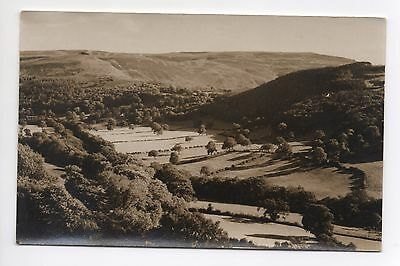 Real Photo Postcard - Hills Valley Fields Trees Unknown Countryside Location