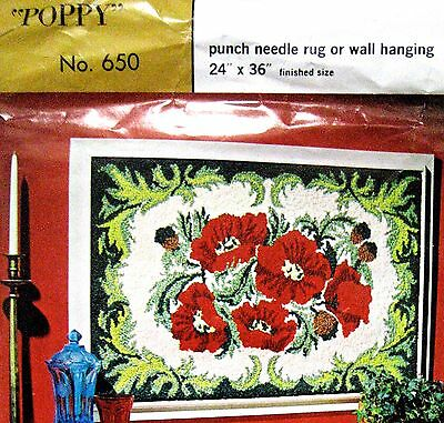 "Vintage Aunt Lydia's ""poppy"" Rug Canvas 24""x36""hooking Punch Needle #650 No Yarn"