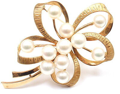 Estate Vintage Mikimoto 14K Yellow Gold Pearl Flower Brooch Pin