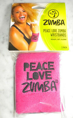 Zumba Fitness  Peace Love Wristbands - 2 Pack New W/Tag