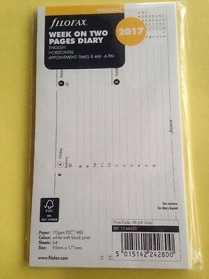 FILOFAX Personal WEEK ON TWO PAGES DIARY 2017 Horizontal 17-68420 diary refill