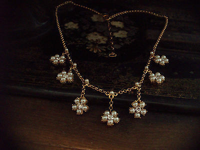 Butler & Wilson Vintage Pearl & Crystal Drop Necklace on a Gold Plated Chain