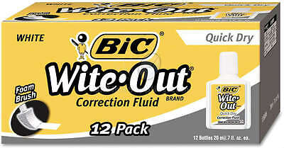 Bic Wite-Out Quick Dry Correction Fluid 20 ml Bottle White 1/Dozen