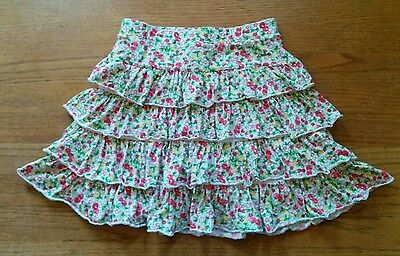 Lands' End  * 12 *  White floral green yellow  red cherries  tiered ruffle skort