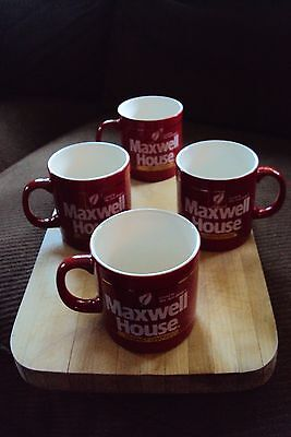 Lot of 4 Red Maxwell House Coffee Cups - EUC