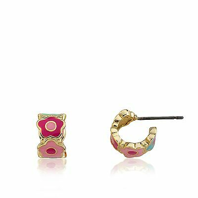 LMTS Girls 14k Gold-Plated Multi Color Enamel Cut Out Flowers Huggy Earring