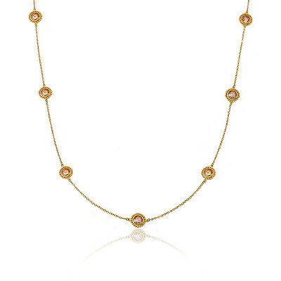 """Womens 14k Gold-Plated Champagne Circles On 14k Gold-Plated 36"""" Chain Necklace"""