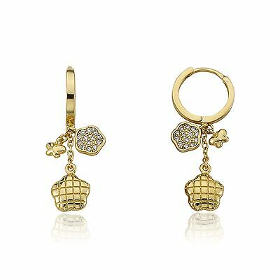 LMTS Girls 14K Gold Plated Cz And Quilted Flower Cluster Dangle Earrings