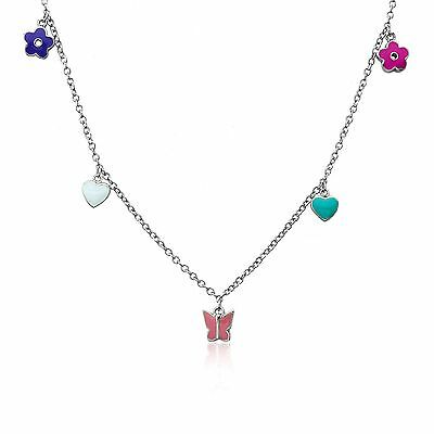 """LMTS Girls Enamel Heart, Flower, Butterfly Charms Chain Necklace 2"""" Extender"""
