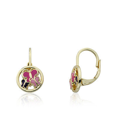 Girls 14K Gold Plated Leverback Earring With Cut Out Enamel Butterflies Disc