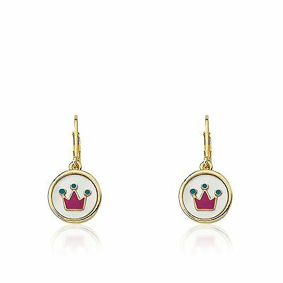 LMTS Girls 14k Gold-Plated Coin Pearl With Enamel Crown Dangle Leverback Earring